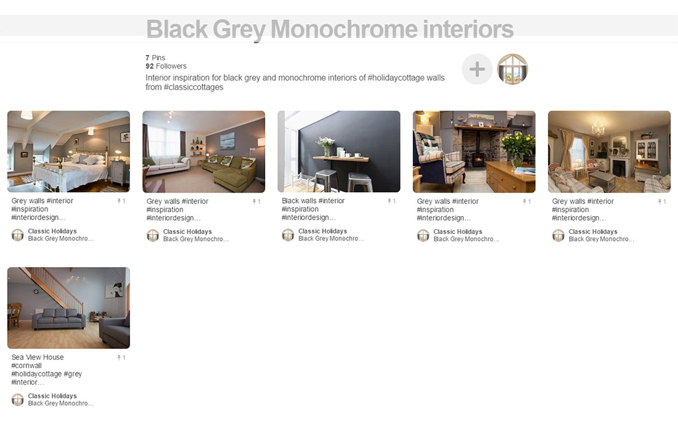 Black grey monochrome interiors