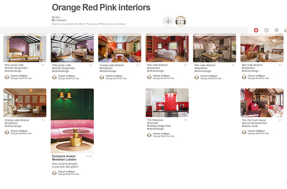 Orange red pink interiors