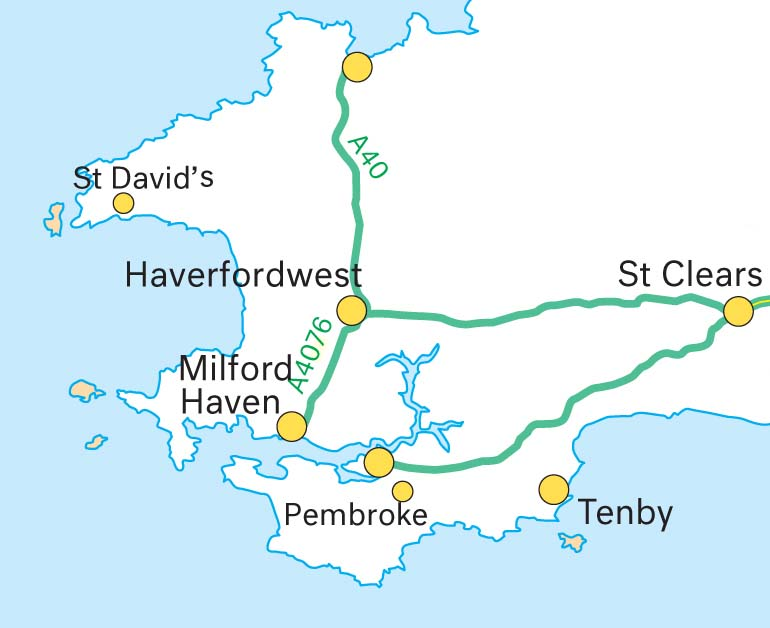 Map of Pembrokeshire, Wales