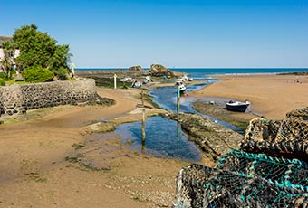 Bude river mouth with lobster pots