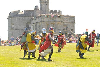 battle reenactment at Pendennis castle in Falmouth