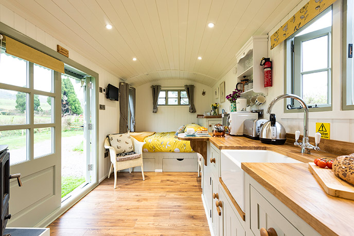 Chic and colourful, the Shepherd's Hut is a relaxing place to stay for your Somerset holiday.