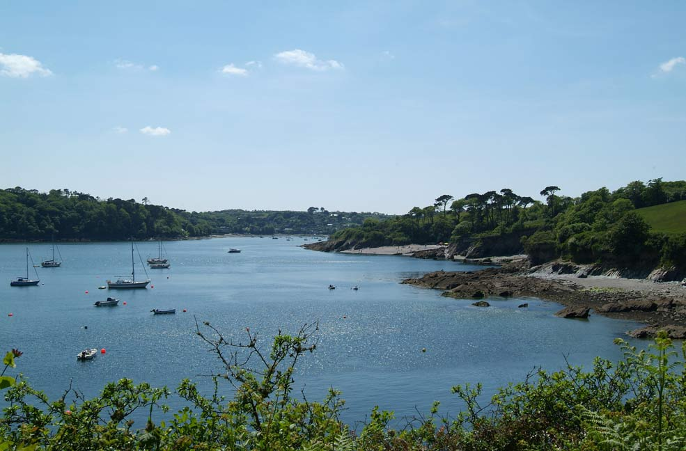Helford River with the beach at Trebah Garden on the right