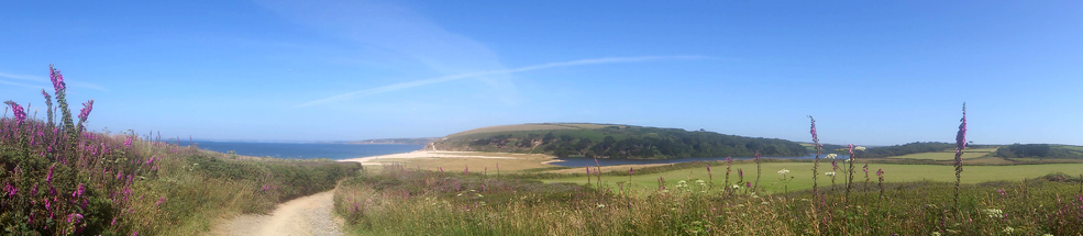 The view down to Loe Bar, with Loe Pool to the right