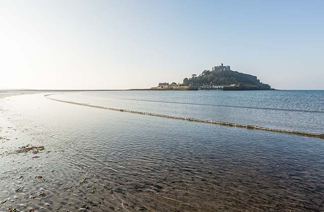 Marazion beach looking over St Michaels Mount
