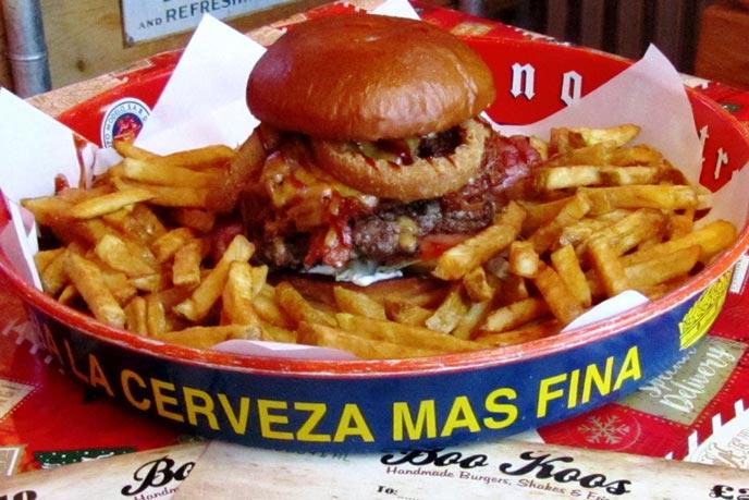 Burger and chips at Bookoos, Helston