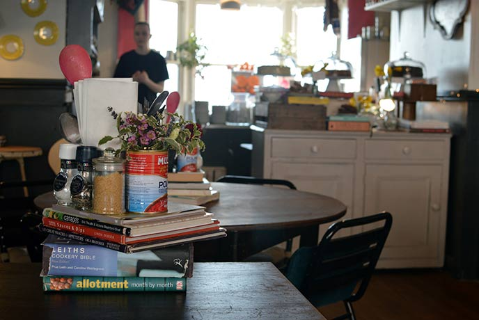 The shabby chic interiors welcome you into this warm and friendly Sussex cafe.