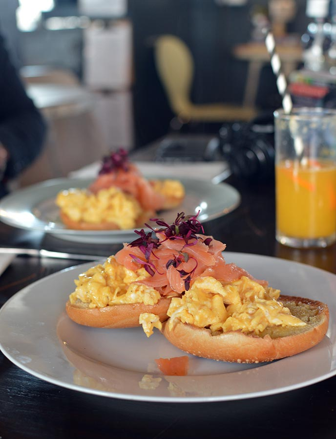Who wouldn't want to start their day with a delicious meal of smoked salmon and scrambled egg on a toasted bagel?