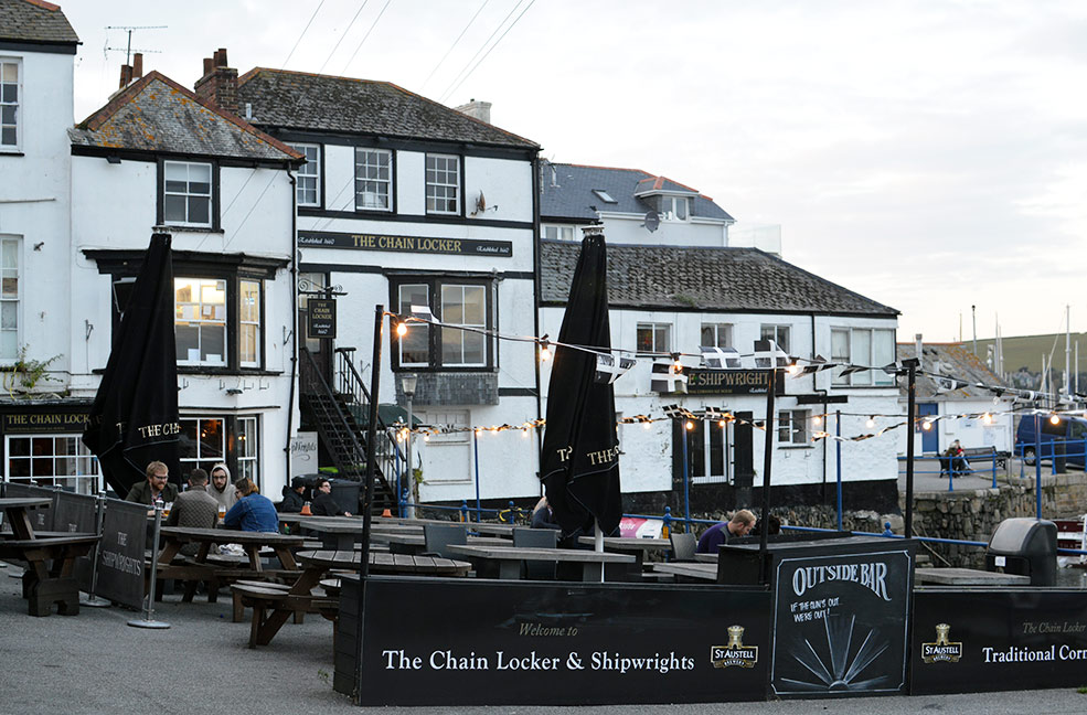 The Chainlocker is a brilliant old pub on Custom House Quay in Falmouth, Cornwall.