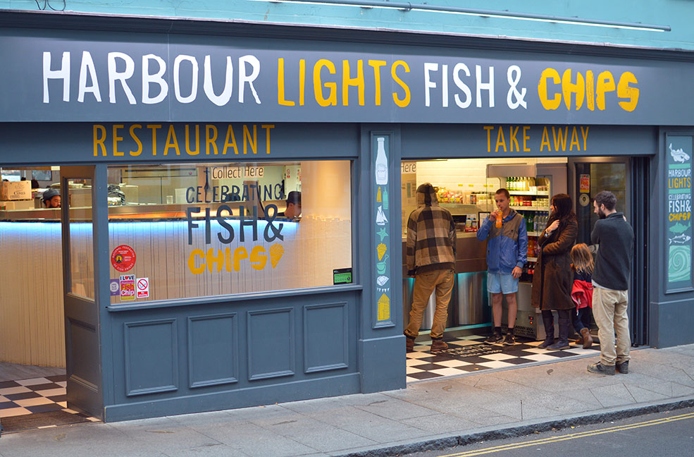 Harbour Lights is an award winning fish and chip shop in Falmouth. You can eat in or take away.