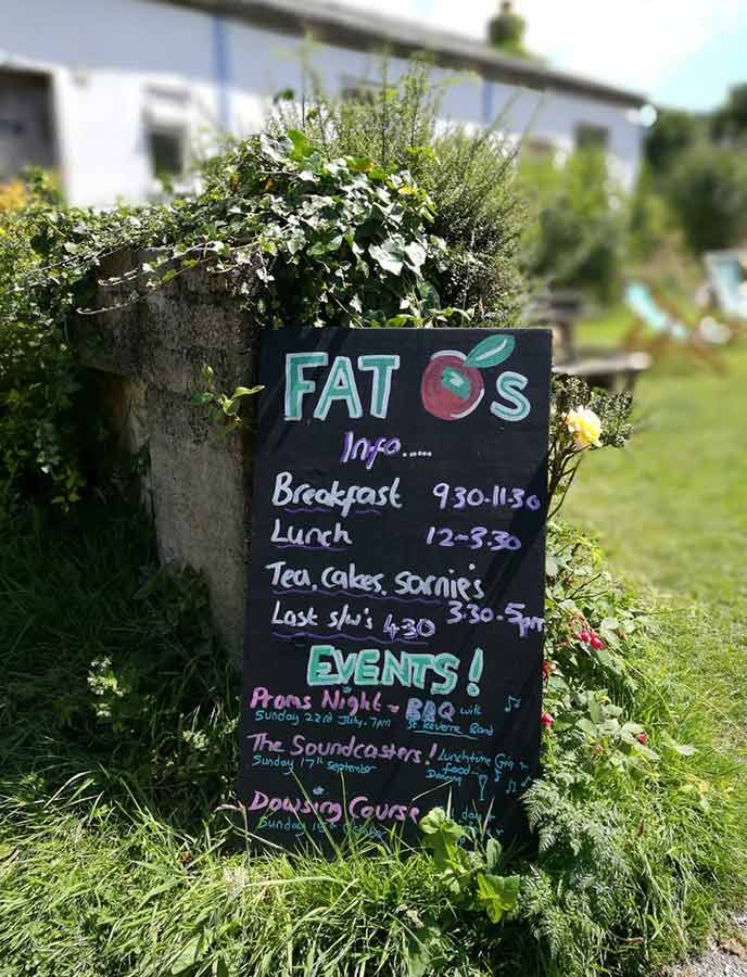 Spotted: the sign for Fat Apples cafe, a locals cafe in Cornwall.