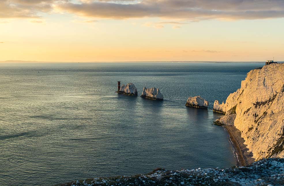 Sunset over the Needles on the Isle of Wight.