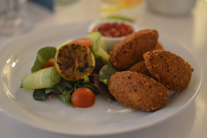 The epic crab fritters served at Muddy Beach in Penryn.