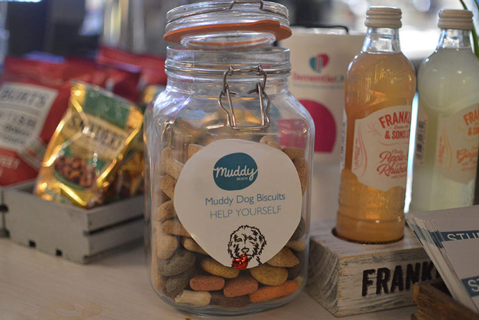 There are even dog biscuits for your four legged friends at Muddy Beach cafe in Penryn, Cornwall.
