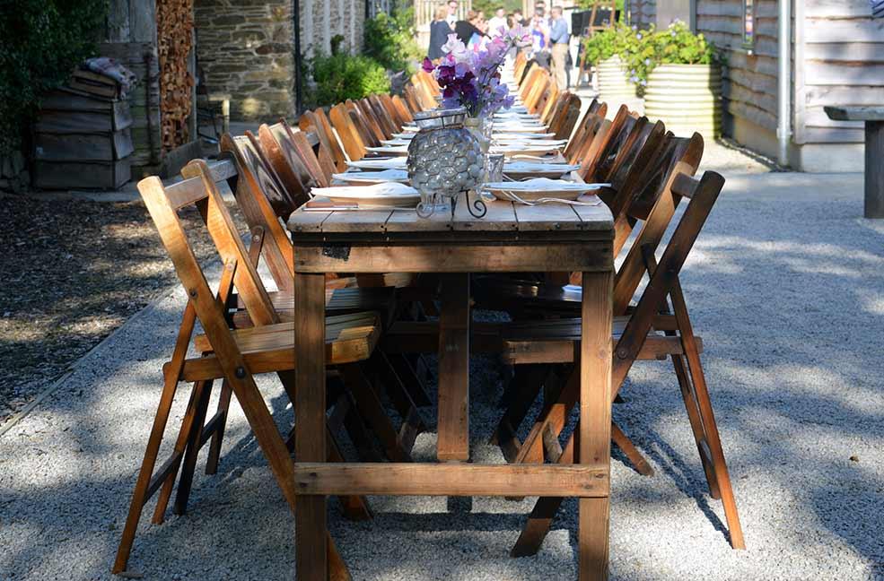 The table all set for the Nancarrow Farm Midsummer feast.