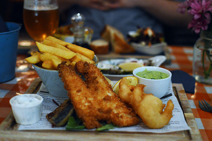 The trio of fish and chips was delicious.