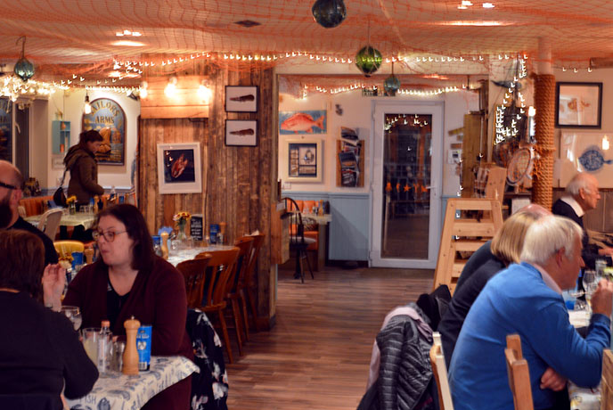 The fun interiors of the Oyster Shack in Bigbury, Devon.