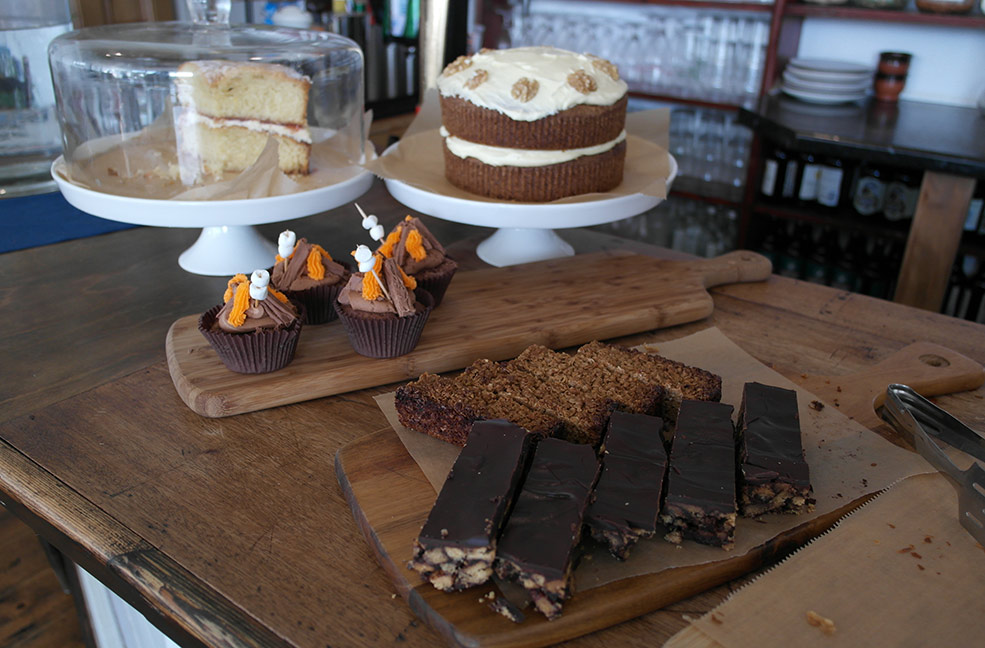 The selection of brilliant cakes at the Piano Cafe on the Isle of Wight.
