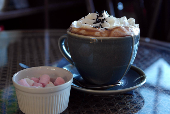 The luxurious hot chocolate at the chocolate apothecary.