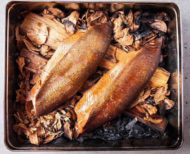 Smoked fish in a biscuit tin