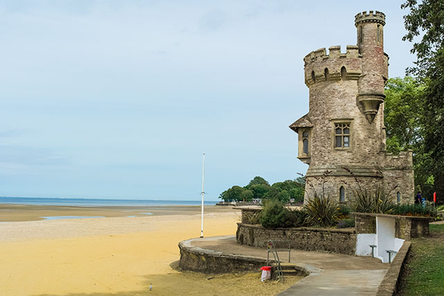 The castle and Appley beach at Ryde