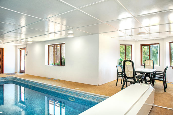 A heated indoor pool where you can take a morning dip and an evening swim.