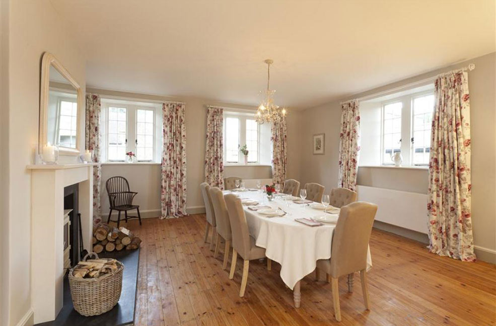 The dining room in Barton Manor Farmhouse