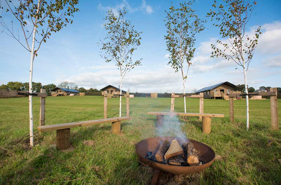 Get closer to nature as you tell stories around the fire pit of your safari tent glamping site.