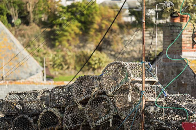 Lobster pots in Cadgwith Cove, Cornwall