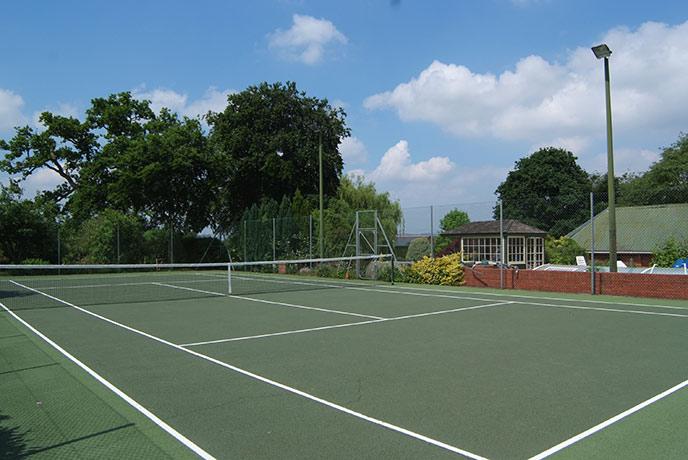 The tennis court at Higher Yellands Cottage in Devon.
