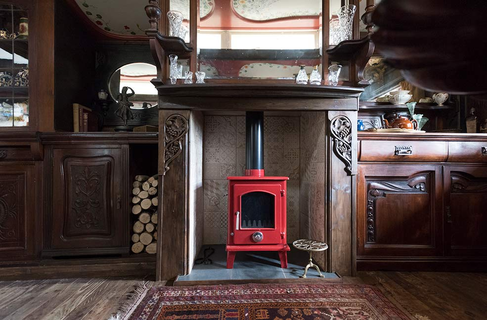 A cosy wood burner keeps the wagon warm for holidays at any time of the year.
