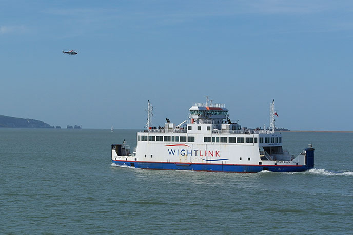 A Wightlink ferry making the crossing from Yarmouth to Lymington