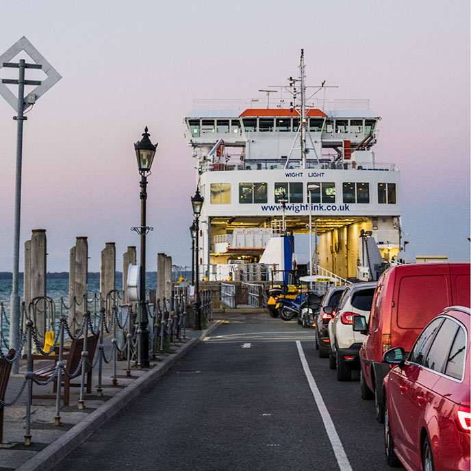 Cars waiting for the ferry crossing to the Isle of Wight