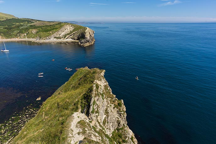 The beautiful view over Lulworth Cove in Dorset.
