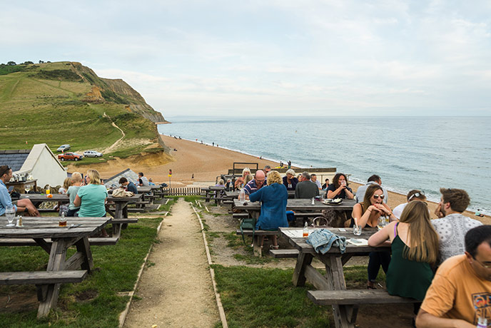 We love the seaside vistas from the pubs in Seatown, Dorset.