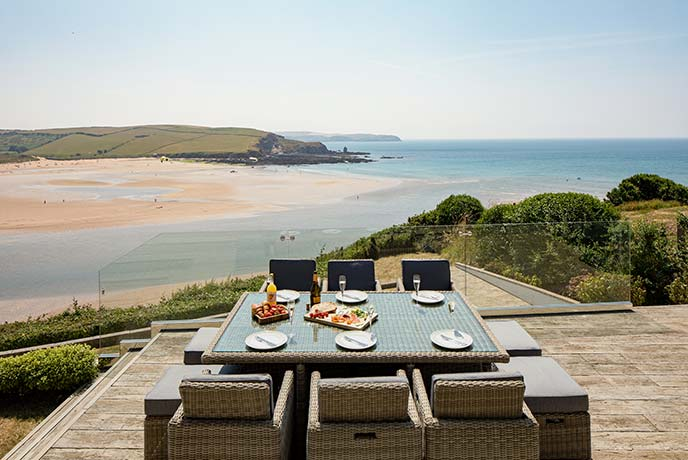 Dine al fresco with the view of Bigbury Bay.