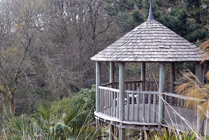 A raised viewing platform at the heart of the gardens.