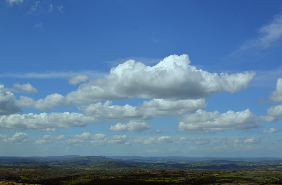 Clouds lying low over West Devon and Dartmoor.