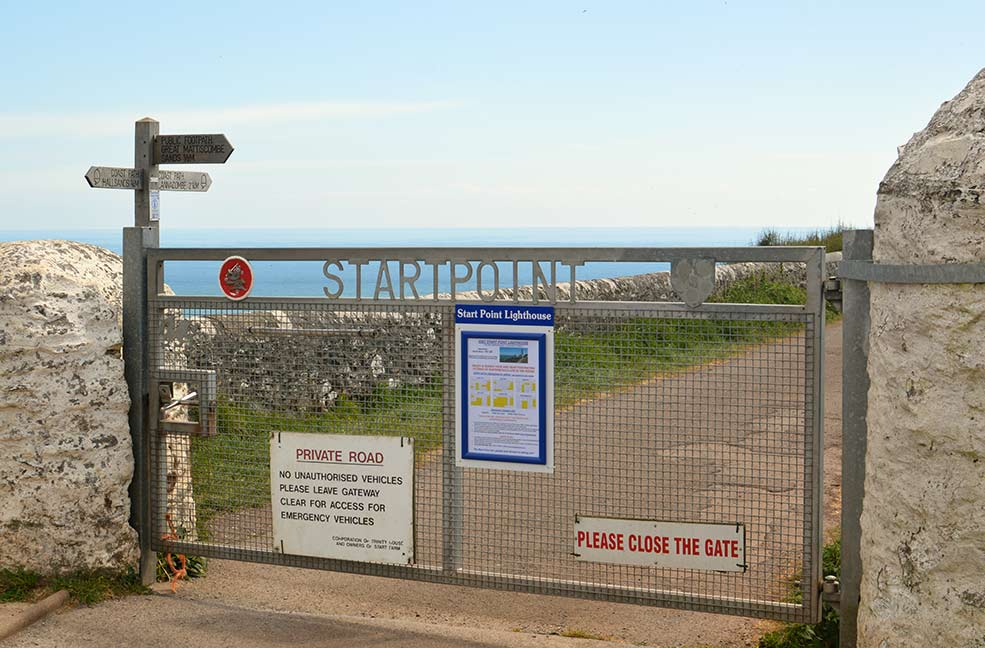 The entry gate from the car park to Start Point Lighthouse and Great Mattiscombe sands.
