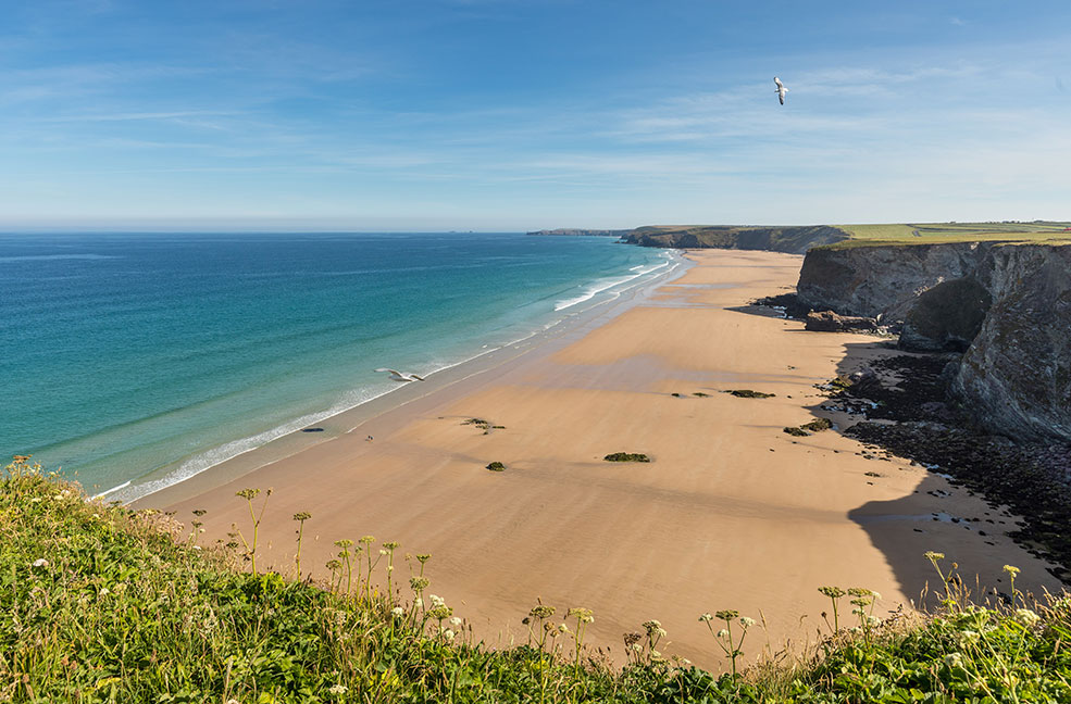 Welcoming dogs all year round, Watergate Bay is also family friendly with toilets on the beach and restaurants nearby.