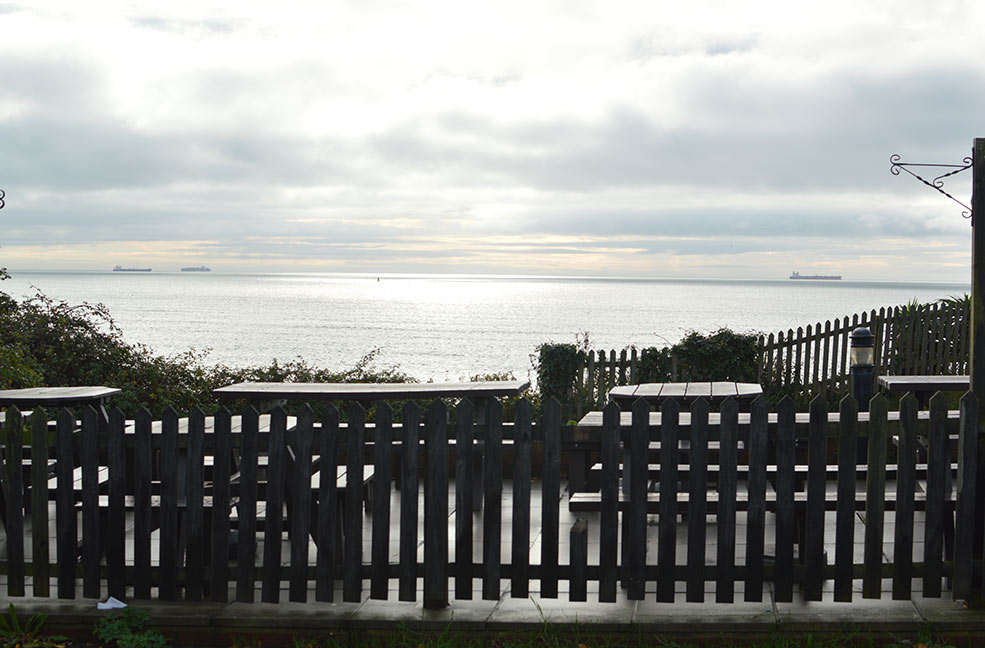 The view across the channel from the Crab and Lobster in Bembridge.