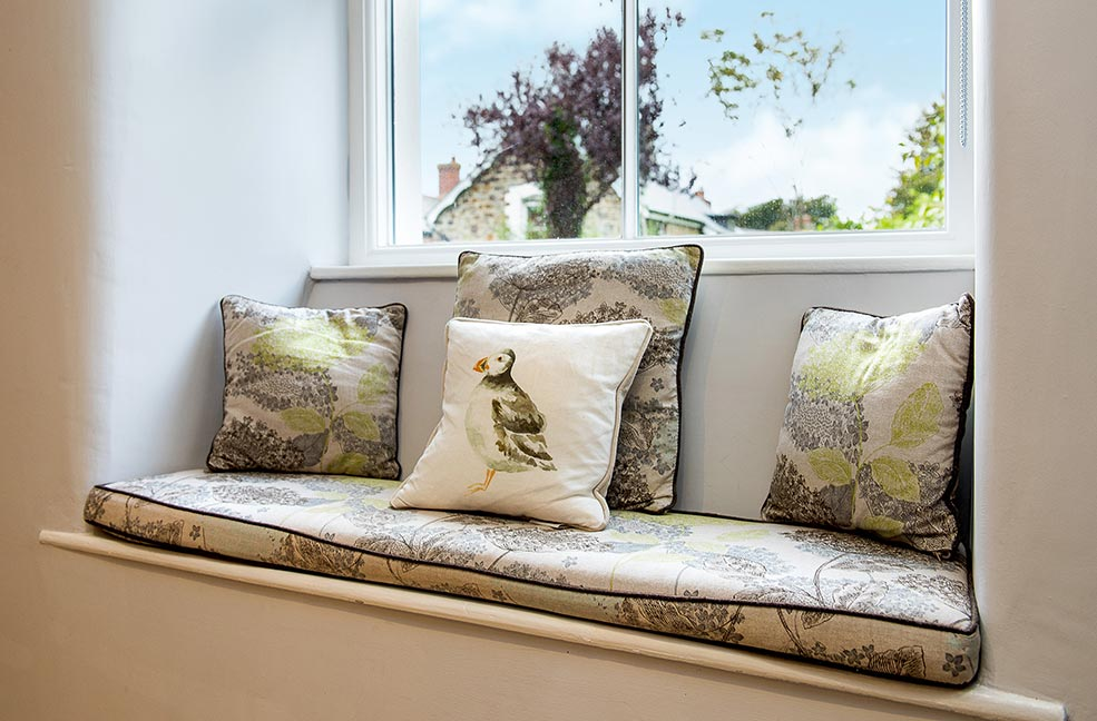 A cosy corner in Puffin's Nest where you can enjoy a quiet moment while on holiday.