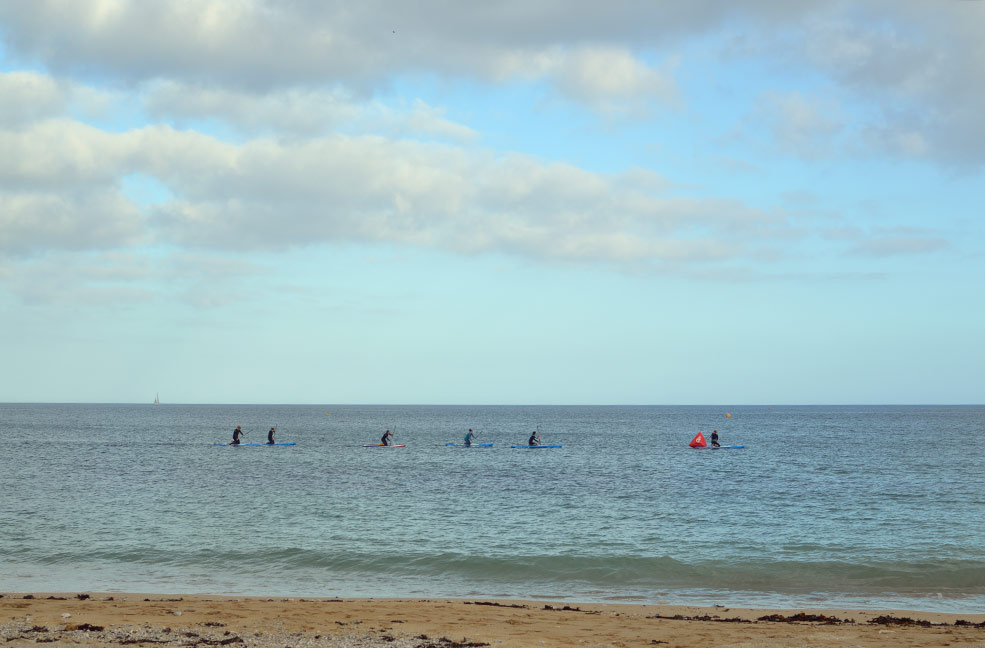 Gyllyngvase beach is perfect for stand up paddle boarding due to the shelter of Falmouth bay.