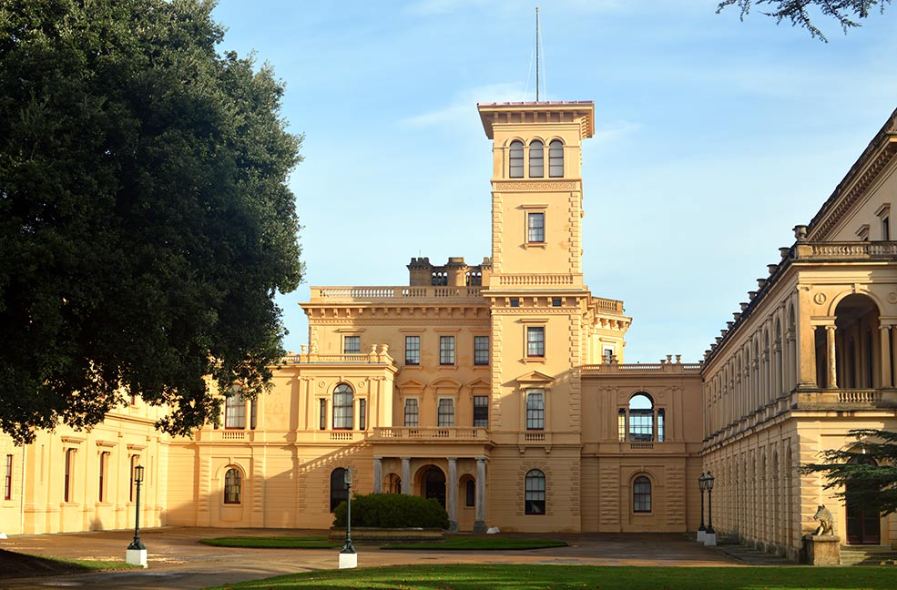 Outside Osborne house on a sunny day on the Isle of Wight.