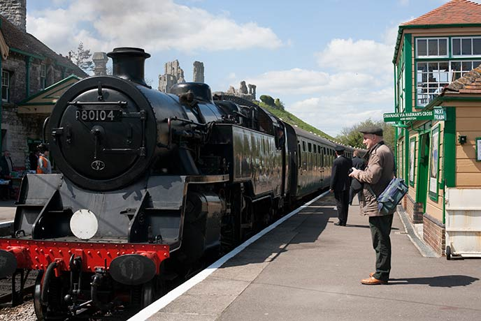Hop aboard a steam engine and cruise through the Dorset hills from the Swanage railway.
