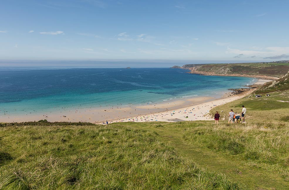 The beach at Sennen is a beautiful golden strip of sand that attracts surfers from around the world.