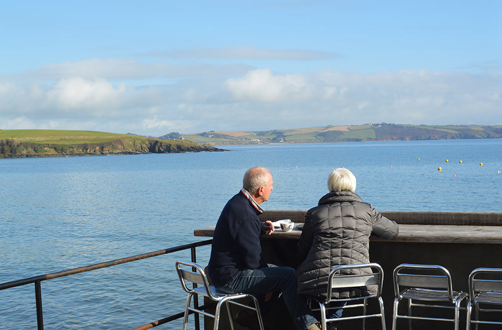 Enjoying the view across the Roseland from Portscatho in Cornwall