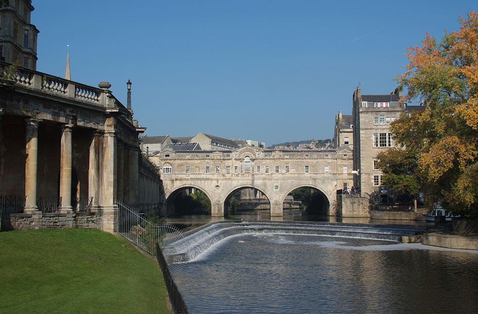 The Parade Gardens in Bath overlook the river Avon.