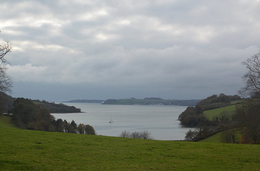 The lake view at Trelissick gardens in Cornwall