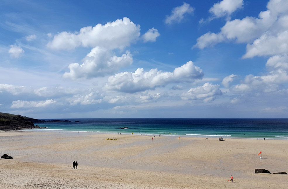 Porthmeor beach in Cornwall backs on to the Tate St Ives and looks out on to the Atlantic Ocean.